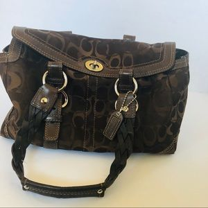 Authentic Coach Signature Leather Handle Bag